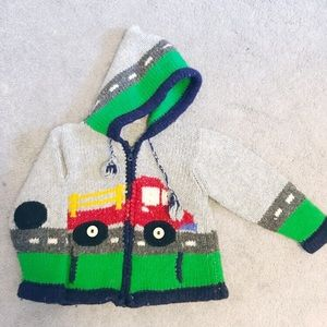 Other - Kids Knitted Zip-Up Sweater with Tractor Unisex